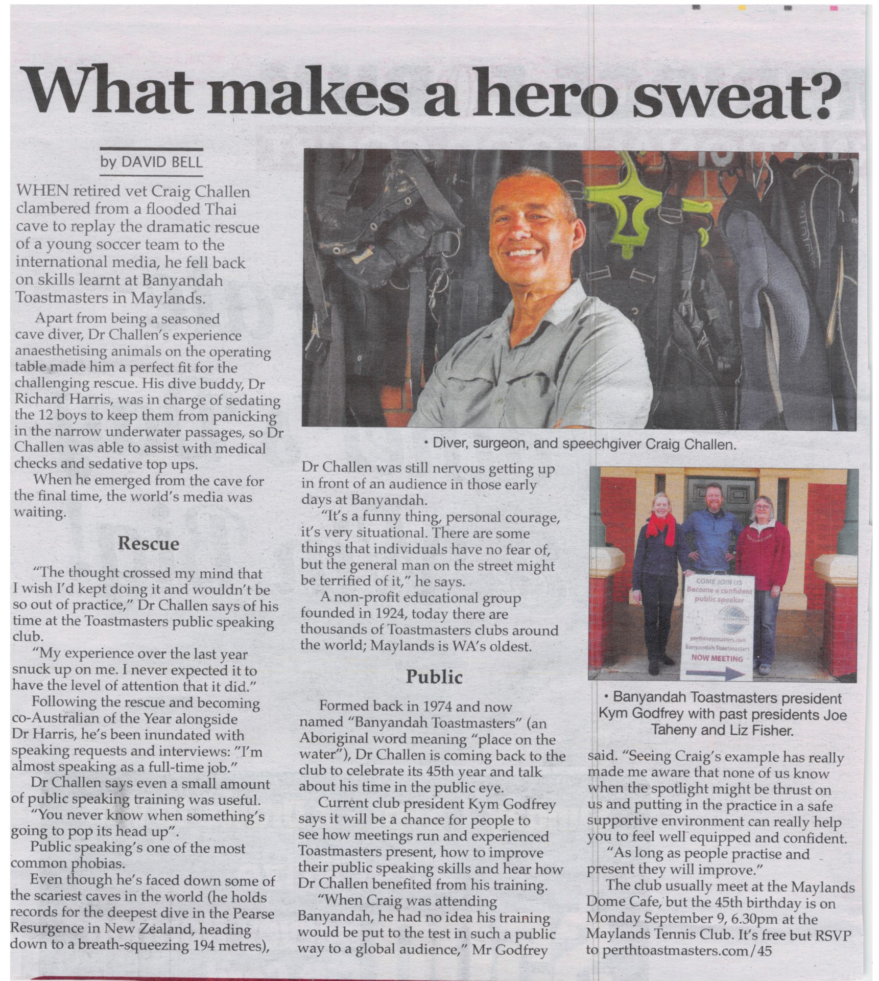 What Makes a Hero Sweat - Perth Voice Newspaper Article about Craig Challen and Banyandah Toastmasters' 45th Celebrations
